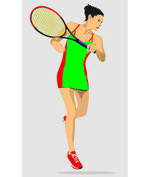 Woman left hand tennis player colored 3d vector
