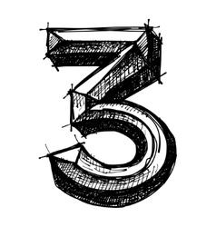 black sketch drawing of numbers vector image vector image