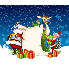 Christmas card with Santa Claus reindeer and elves vector image