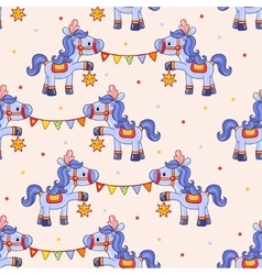Funny circus pattern with horses vector image vector image