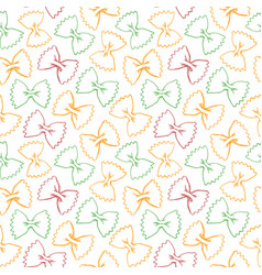 hand drawn pasta farfalle seamless pattern vector image