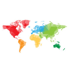 low poly map of world divided into six continents vector image