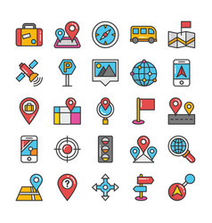 maps and navigation colored icons set 4 vector image