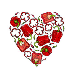 red bell peper heart shape wreath half of sweet vector image vector image