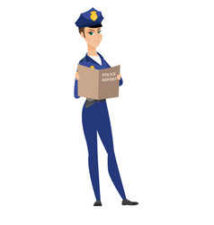 caucasian police officer holding a police report vector image vector image