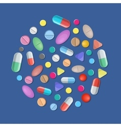 Different colorful medical pills capsules vector image vector image