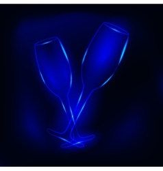 glass of champagne neon vector image