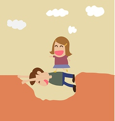 Kindness concept boy help girl crossing hole vector image vector image