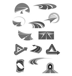 road icons of travel construction company vector image