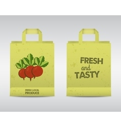 Summer Farm Fresh paper bag template Stylish Mock vector image vector image