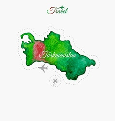 Travel around the world Turkmenistan Watercolor vector image