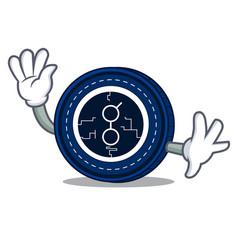 waving golem coin character cartoon vector image vector image