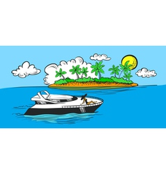 yacht and island vector image vector image