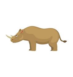 cartoon funny rhinoceros isolated on white vector image