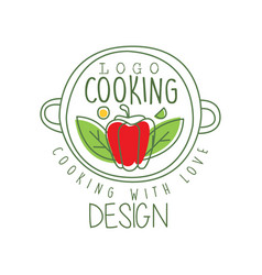 hand drawn culinary logo design with pepper in a vector image
