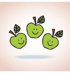 happy cartoon apples vector image vector image