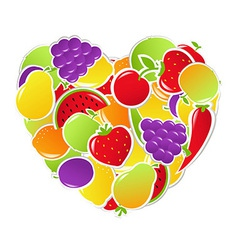 Heart From Fruit And Vegetables vector image vector image