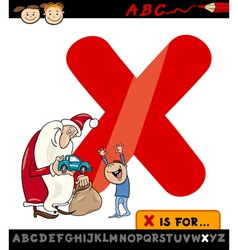 letter x with xmas cartoon vector image vector image