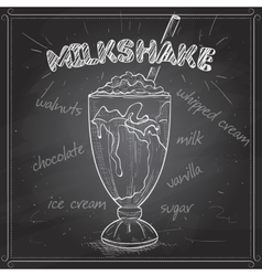 Milkshake scetch on a black board vector image vector image