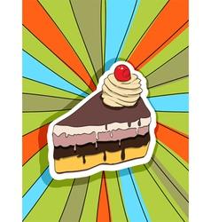 pop art slice of cake vector image vector image