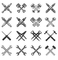 set of the crossed tools and car parts design vector image vector image