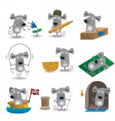 cartoon mice set vector image vector image