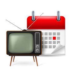 Old TVset and calendar vector image vector image