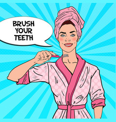 pop art smiling pretty woman with toothbrush vector image vector image