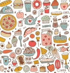 Seamless food sketch pattern vector image