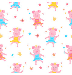 A cute pig princess in a dress and in the crown vector