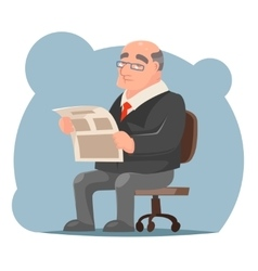 Adult Businessman Old Sit Read Newspaper Character vector