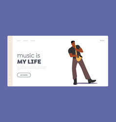 African male character playing saxophone landing vector