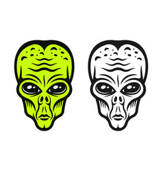 Alien head two styles colored and black vector
