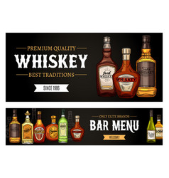 Bar menu high spirit alcohol drink whiskey and rum vector