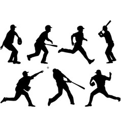 baseball silhouettes collection 5 vector image