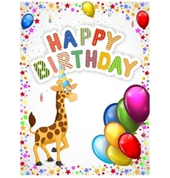 Birthday cartoon with happy giraffe vector image