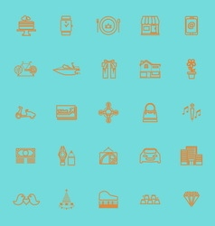Birthday gift orange color line icons vector