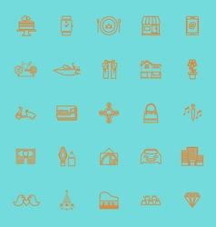Birthday gift orange color line icons vector image