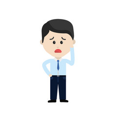 Businessman cartoon face sad expression vector