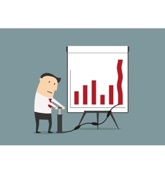 Businessman pumping up graph to increase profit vector image