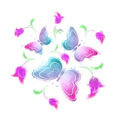 Butterflies and flowers watercolor vector