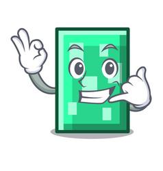 Call me rectangle mascot cartoon style vector