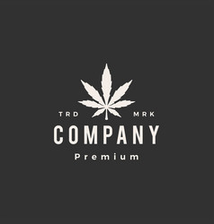 cannabis leaf hipster vintage logo icon vector image