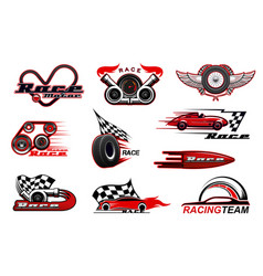 Car racing motorsport icons vector