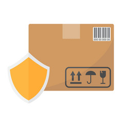 Cardboard box protection flat icon vector