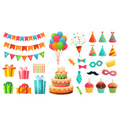 cartoon birthday party decorations gifts presents vector image