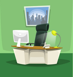 Cartoon office desk chair monitor phone scene set vector