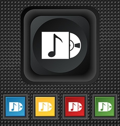 Cd player icon sign symbol Squared colourful vector