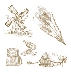 Cereals set hand drawn windmill wheat farm vector