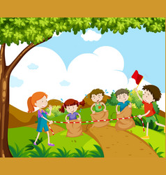 Children jumping in the race vector